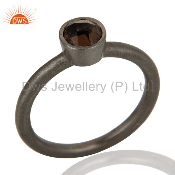 Wholesalers Black Rhodium Plated Plated Sterling Silver Natural Smoky Quartz Stacking Ring