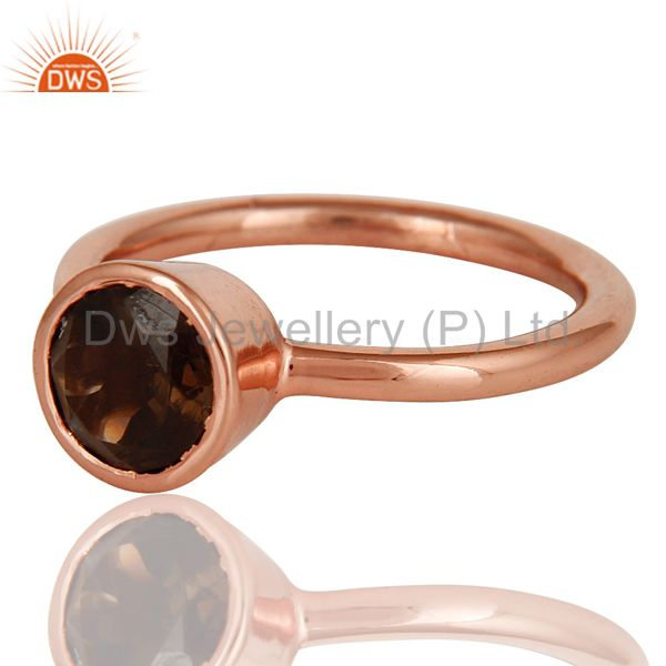 Wholesalers 18K Rose Gold Plated Sterling Silver Handmade Round Smokey Topaz Stackable Ring