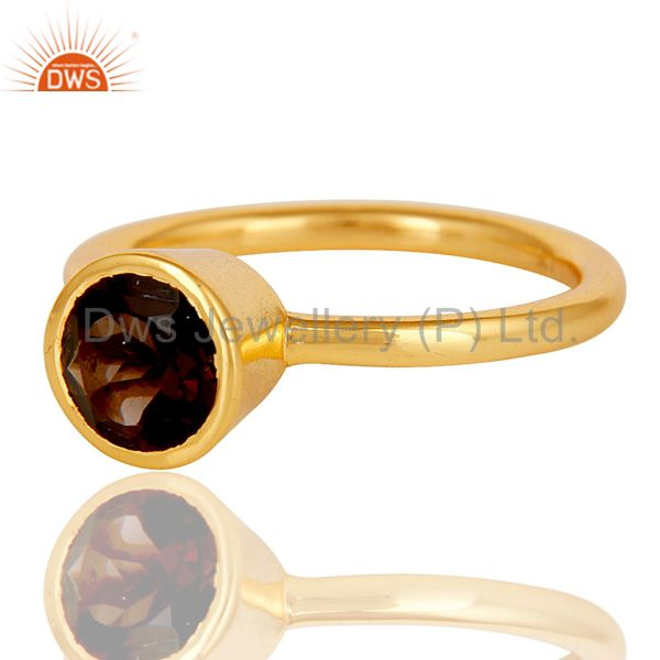 Wholesalers 18K Gold Plated Sterling Silver Handmade Round Cut Smokey Topaz Stackable Ring
