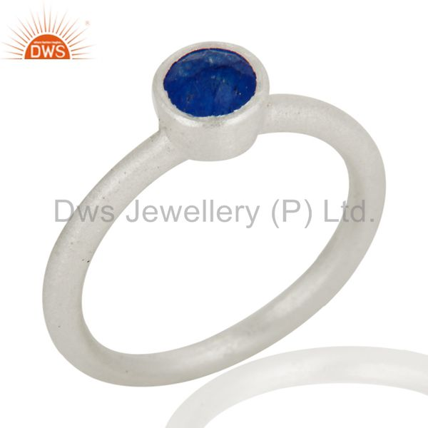 Suppliers 925 Sterling Silver Natural Blue Aventurine Round Cut Stackable Ring