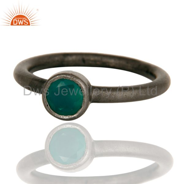 Wholesalers Black Oxidized Sterling Silver Green Onyx Gemstone Stacking Ring