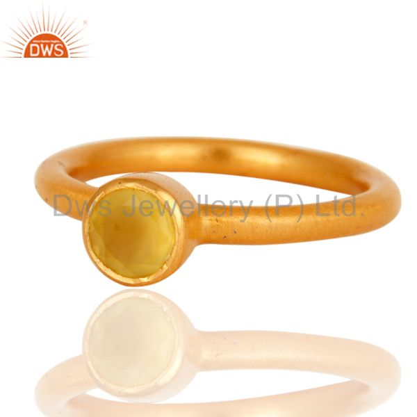 Exporter 18K Yellow Gold Plated Sterling Silver Yellow Chalcedony Gemstone Stacking Ring