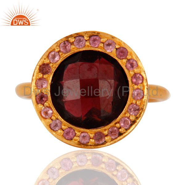 Exporter 18K Yellow Gold Plated Sterling Silver Tourmaline And Garnet Cocktail Ring