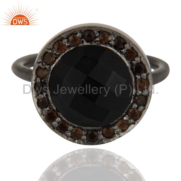Wholesalers Oxidized Sterling Silver Black Onyx And Smoky Quartz Gemstone Stacking Ring