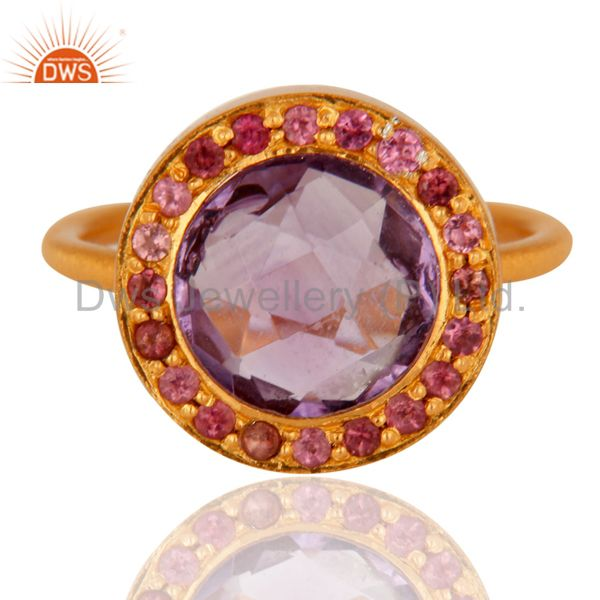 Wholesalers Handmade 925 Sterling Silver Amethyst Gemstone Ring With 18K Gold Plated