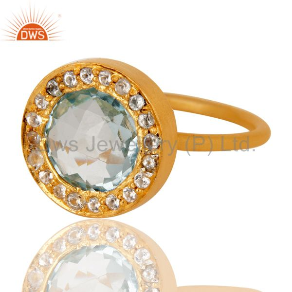 Wholesalers 18K Yellow Gold Plated Sterling Silver Blue Topaz and White Topaz Cocktail Ring