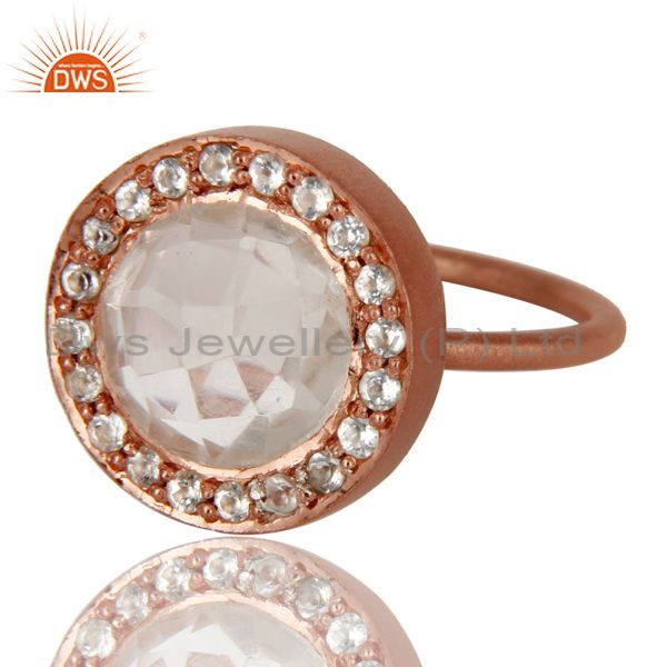 Wholesalers 18K Rose Gold Plated 925 Sterling Silver Crystal & White Topaz Statement Ring