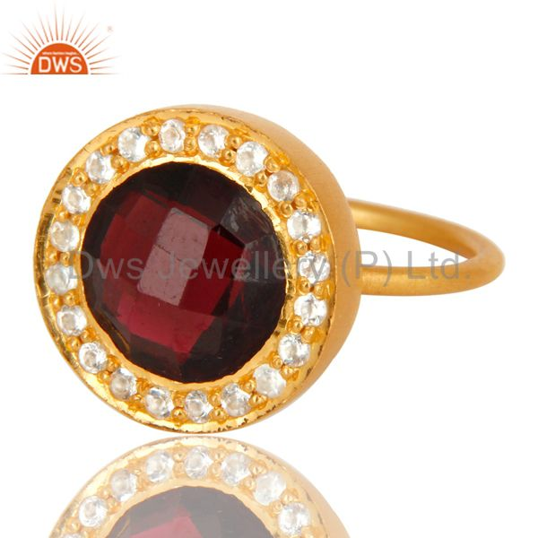 Wholesalers 18K Yellow Gold Plated Sterling Silver Garnet And White Topaz Stackable Ring