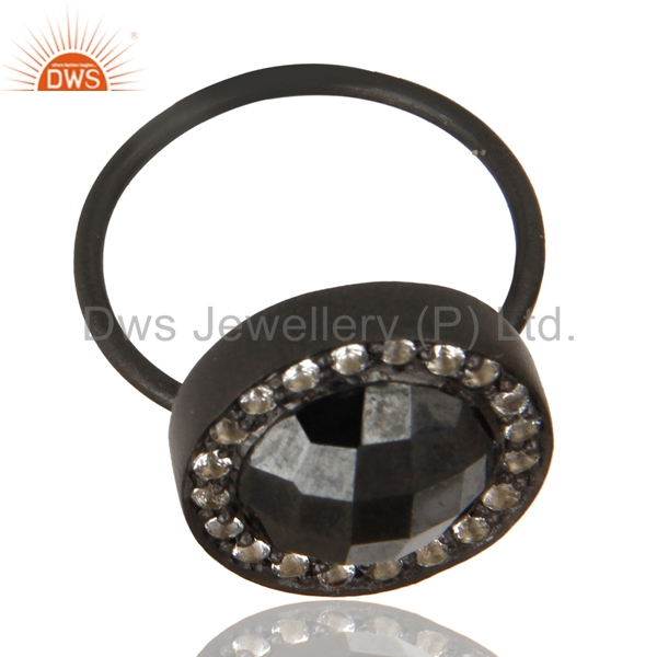 Exporter Black Oxidized 925 Sterling Silver Hematite & White Topaz Stackable Ring Jewelry