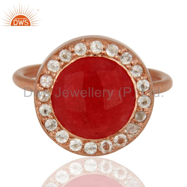 Exporter 18K Rose Gold Plated Sterling Silver Red Aventurine & White Topaz Cocktail Ring