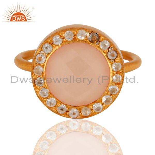 Wholesalers 18K Gold Plated Sterling Silver Rose Chalcedony And White Topaz Cocktail Ring