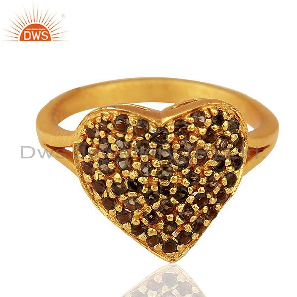 Exporter 18K Yellow Gold Plated Sterling Silver Smokey Quartz Heart Shape Ring