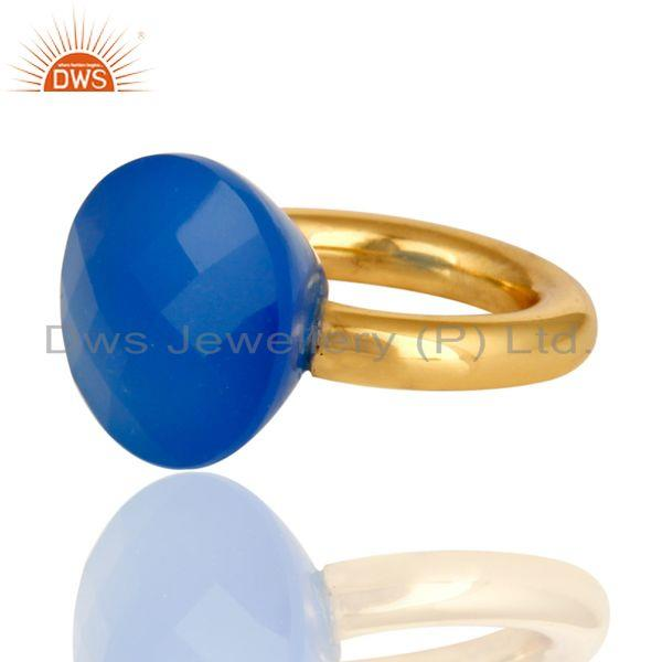 Wholesalers 18K Yellow Gold Plated Faceted Blue Chalcedony Sterling Silver Ring