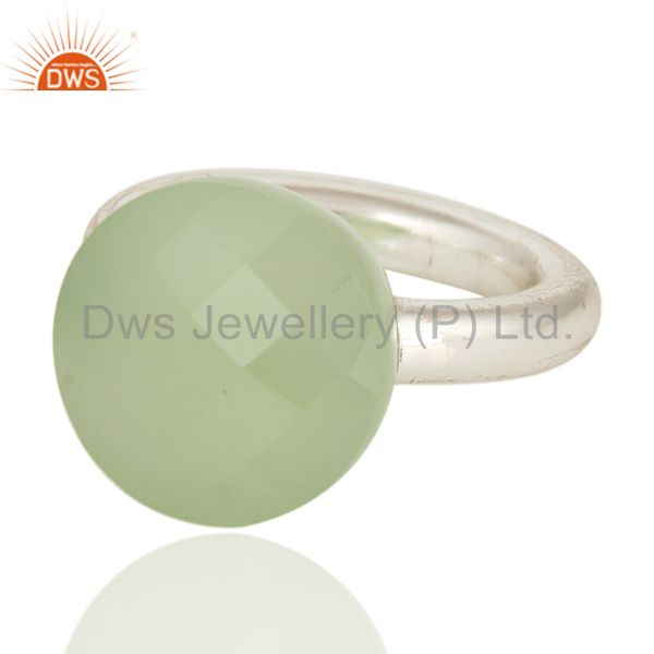 Wholesalers Faceted Green Chalcedony Gemstone Sterling Silver Ring