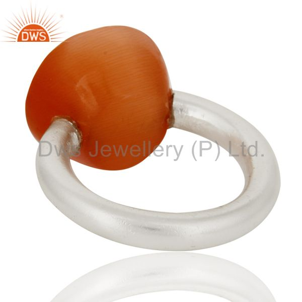 Wholesalers Solid Sterling Silver Natural Peach Moonstone Faceted Gemstone Stacking Ring