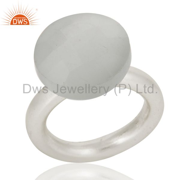 Exporter Solid 925 Sterling Silver Stackable Ring With Natural Gemstone White Moonstone