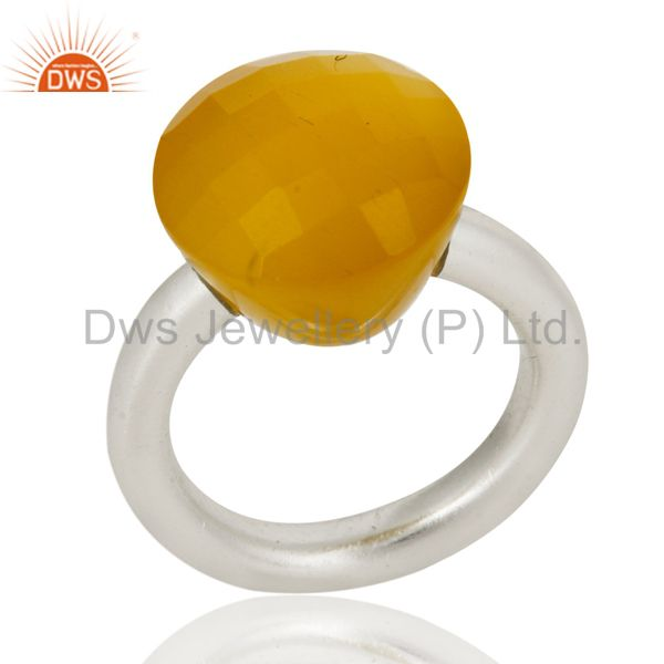 Wholesalers 925 Sterling Silver Faceted Yellow Moonstone Stacking Ring