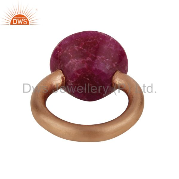Exporter 18K Rose Gold Over Sterling Silver Ruby Corundum Stacking Ring