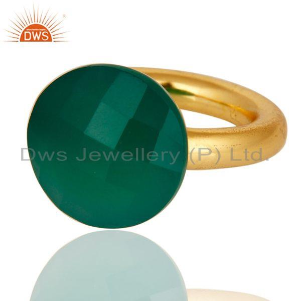 Wholesalers Faceted Green Onyx Gemstone 18K Gold Plated Sterling Silver Stacking Ring