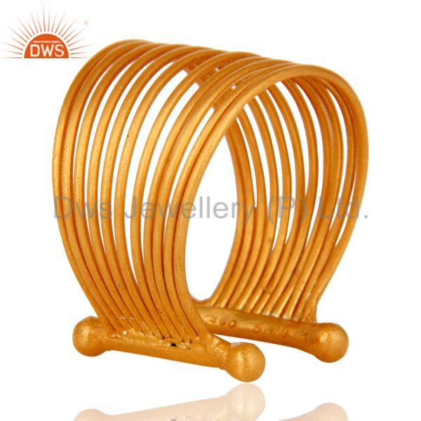 Wholesalers 18K Yellow Gold Plated Sterling Silver Wire Adjustable Dome Ring