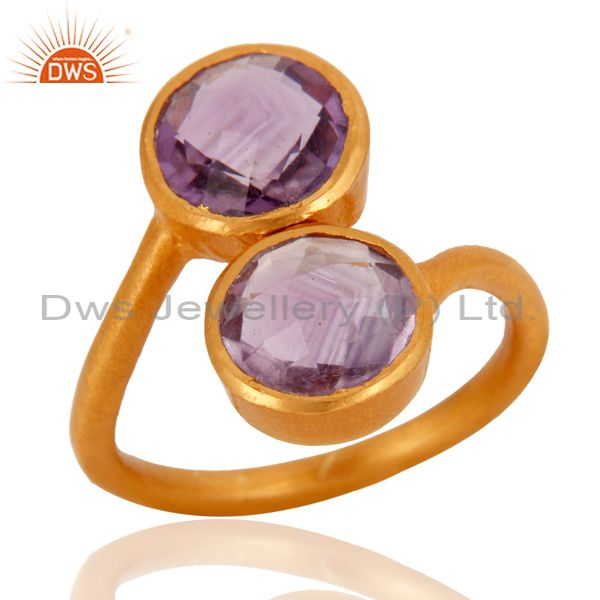 Wholesalers 18K Yellow Gold Plated Sterling Silver Amethyst Gemstone Stacking Ring
