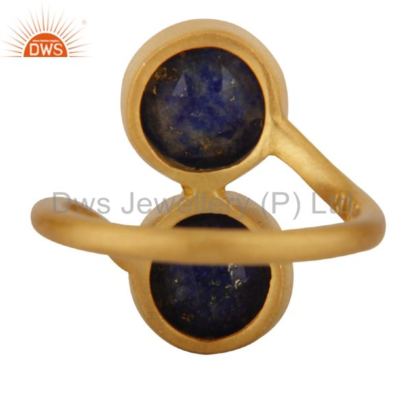 Wholesalers 18K Yellow Gold Plated Sterling Silver Natural Lapis Lazuli Gemstone Ring