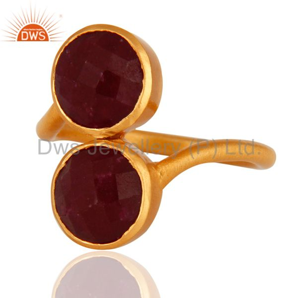Wholesalers 18K Yellow Gold Plated Sterling Silver Dyed Ruby Gemstone Ring