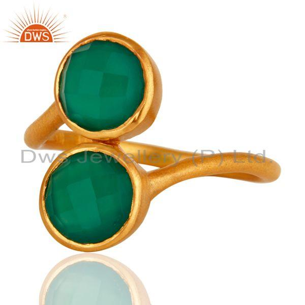 Wholesalers 18K Yellow Gold Over Sterling Silver Green Onyx Gemstone Stacking Ring