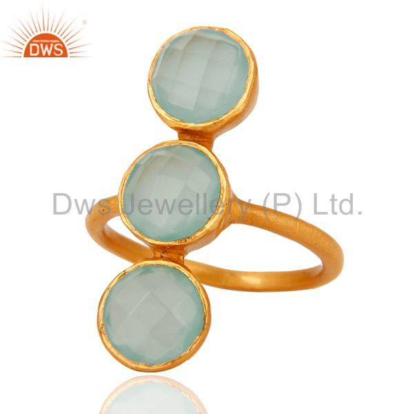 Wholesalers 18K Yellow Gold Over Sterling Silver Aqua Chalcedony Glass Gemstone Ring