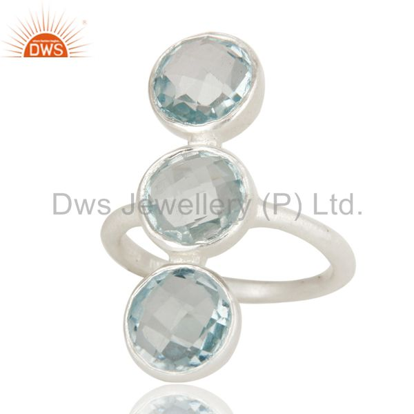 Wholesalers 925 Sterling Silver Natural Blue Topaz Gemstone Three Stone Statement Ring
