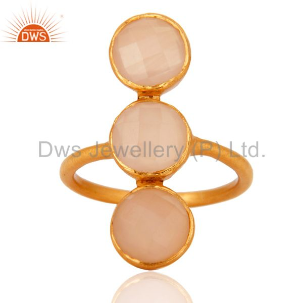 Wholesalers 18K Yellow Gold Over Sterling Silver Rose Chalcedony Gemstone Statement Ring