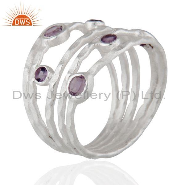 Wholesalers Solid 925 Sterling Silver Amethyst Gemstone Textured Design Ring