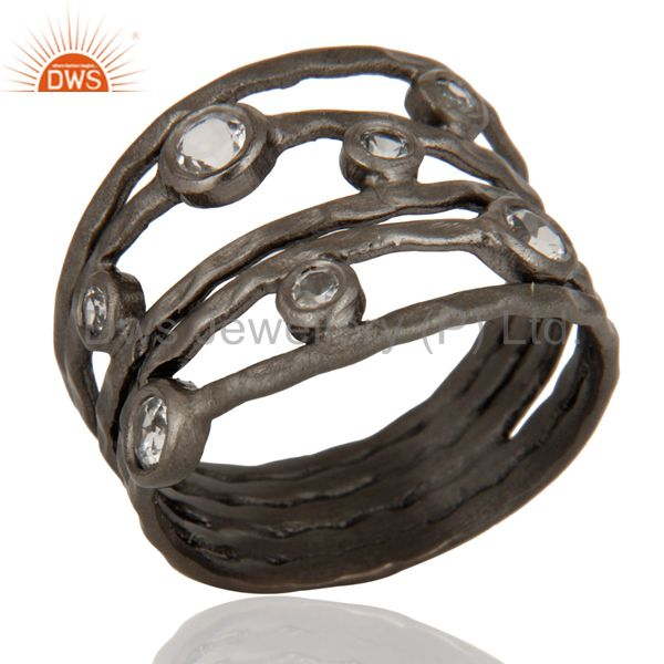 Wholesalers Hammered Oxidized Sterling Silver White Topaz Gemstone Stacking Multi Bands Ring