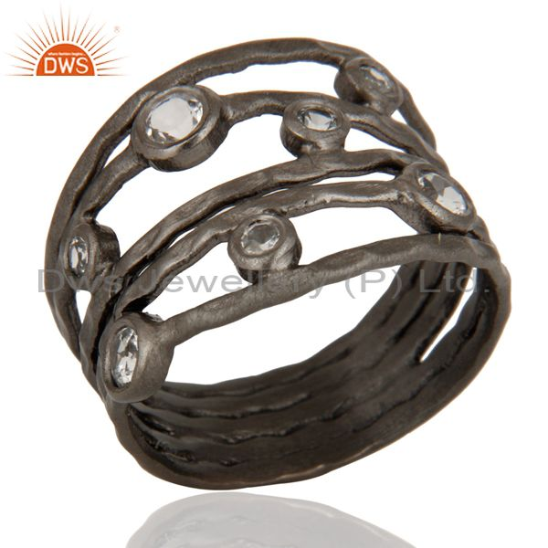 Exporter Hammered Oxidized Sterling Silver White Topaz Gemstone Stacking Multi Bands Ring