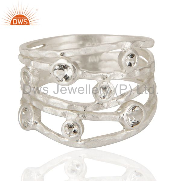 Wholesalers 925 Sterling Silver White Topaz Gemstone Textured Five Joined Band Ring