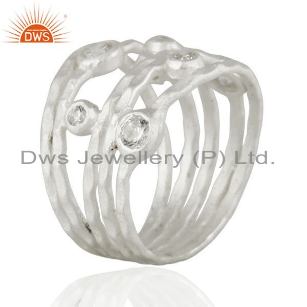 Wholesalers Solid 925 Sterling Silver White Cubic Zirconia Party Wear Fashion Ring