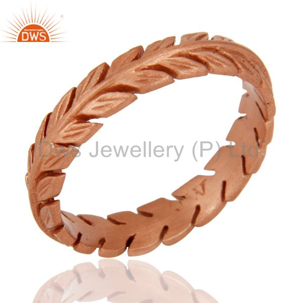 Best Quality 18-Carat Rose Gold On Sterling Silver Leaf Feather Engagement Wedding Band Ring
