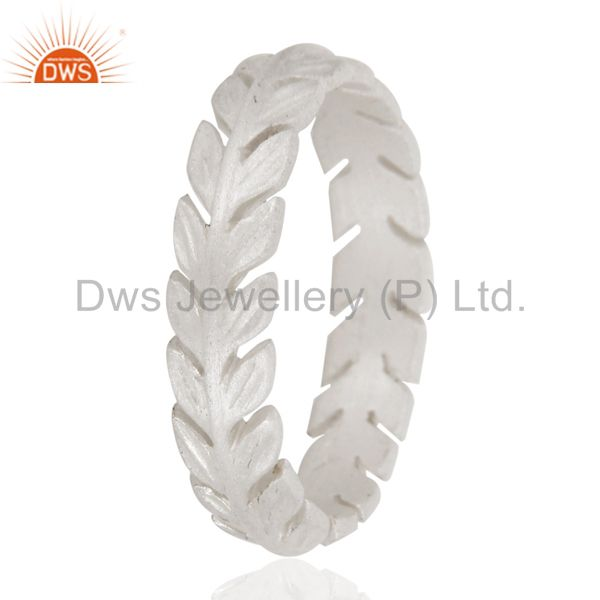 Wholesalers Solid Sterling Silver Leaf Feather Engagement Wedding Band Ring