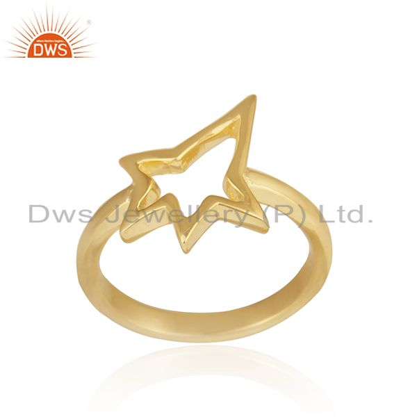 Exporter 18K Yellow Gold Plated Sterling Silver Open Star Ring