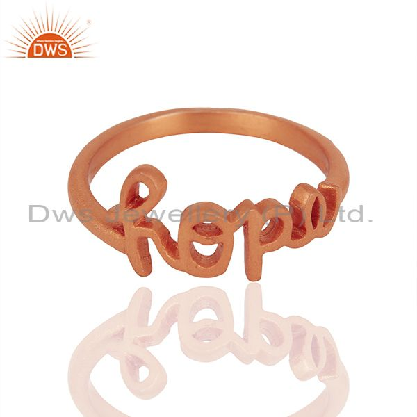 Exporter 18K Rose Gold Plated Solid Sterling Silver Cursive Style Font