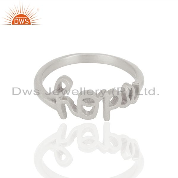 Exporter 925 Sterling Silver Cursive Style Font Hope Word Ring