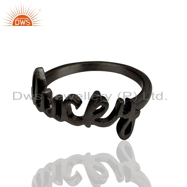 Exporter Black Rhodium Plated Sterling Silver Cursive Style