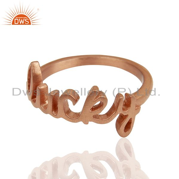 Exporter 18K Rose Gold Plated Sterling Silver Cursive Style