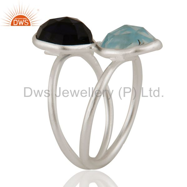 Wholesalers 925 Sterling Silver Blue Corundum And Blue Topaz Bezel-Set Ring
