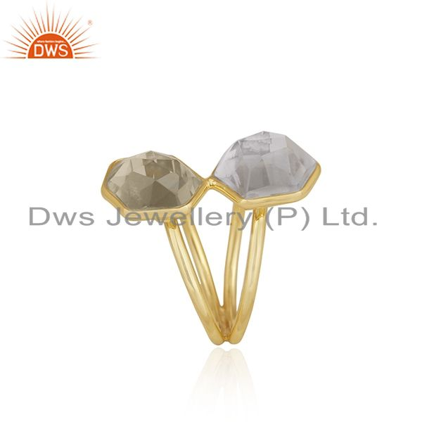 Exporter 18K Yellow Gold Plated Sterling Silver Crystal Quartz Split Shank Statement Ring