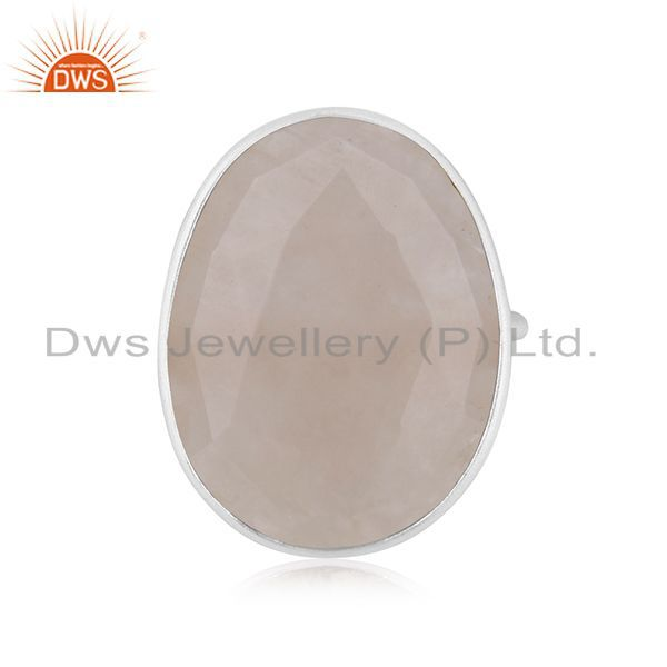 Exporter Rose Quartz Gemstone 925 Sterling Fine Silver Statement Ring Manufacturers