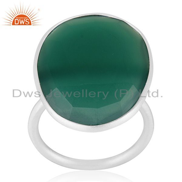 Exporter Green Onyx Gemstone 925 Sterling Fine Silver Cocktail Ring Manufacturers