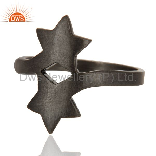 Wholesalers 925 Solid Sterling Silver With Black Oxidized Double Star Statement Ring