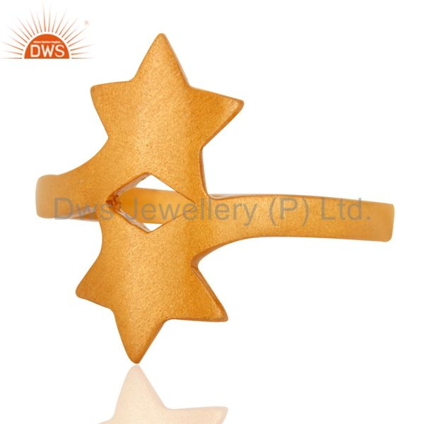 Wholesalers 18K Yellow Gold Plated Sterling Silver Double Star Sign Stacking Ring