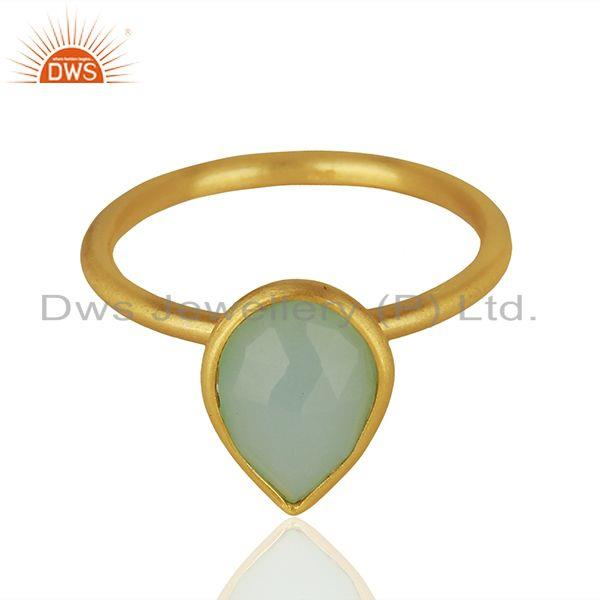 Exporter Solid 925 Silver Gold Plated Chalcedony Gemstone Rings Suppliers